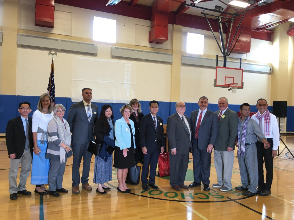 Ambassador Heidt (fourth from the right) with the Stoklosa school leadership and Lowell politicians